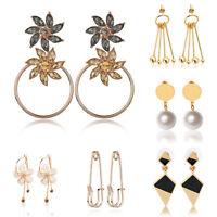 Fashion Women Rhinestone Crystal Pearl Gold Silver Ear Stud Dangle Earrings