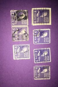 RARE THOMAS JEFFERSON 3 Cent Postage Stamps 1938 - 7 stamps