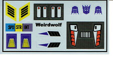 TRANSFORMERS GENERATION 1, G1 DECEPTICON WEIRDWOLF REPRO LABELS / STICKERS