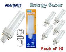 10 X Energetic 10w G24d-1 2 Pin Bajo Ahorro De Energía Fluorescente Bombillas