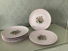 Hutschenreuther Porcelaine Rosé Rose Desiree Röschen 6 x Kuchen Teller 19,3 cm Ø