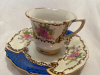 Antique Gold Castle Cobalt Blue & Pink Floral Footed Cup & Saucer GCA2