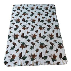 Woolrich Home Autumn Fall Leaves Fleece Throw Blanket Brown White 48 X 68 In