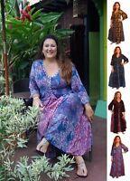 Bohemian Design Maxi Dress - Triangular Insets Bali Batik - LotusTrades U8140