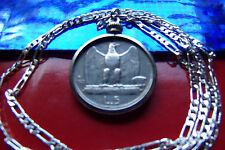 "1920's ITALIAN SILVER EAGLE LIRE COIN PENDANT ON A 24"" 925 Sterling Silver Chain"