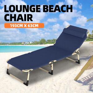 🔥Folding Beach Recline Chair 4 Adjustable Steps Lounge garden Chair Tanning