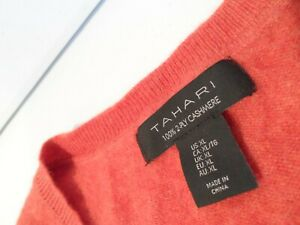 Tahari Women's Cashmere Sweater Size XL Soft Orange V-Neck 2-Ply Top Extra Large