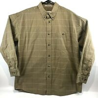 Orvis Men's Long Sleeve Button Front Shirt L Cotton Striped RN 70534 Brown Tan