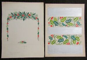 """CHRISTMAS Boughs of Holly with Silver Bars 9x11.5"""" Greeting Card Art LOT of 2"""