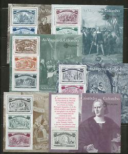 Portugal Voyages of Columbus 6 mnh Souvenir Sheets 1992 Portugal #1919-23