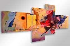 Quadro Moderno 4 pz. KANDINSKY YELLOW RED BLUE - cm 170x70 arredamento arte