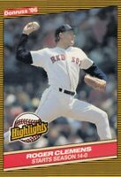 1986 Donruss Highlights # 17 Roger Clemens -- Boston Red Sox -- Box 746