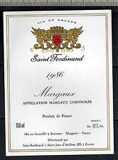 Etiquette de Vin - Margaux - Saint Ferdinand-1986 - Réf.n°284