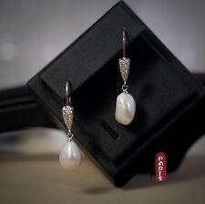 Boucles d`Oreilles Perle Nacre de Culture Baroque Long Blanc Goutte Argent 925 A