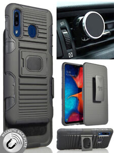 Black Rugged Case + Belt Clip + Magnetic Car Mount for Samsung Galaxy A20/A30