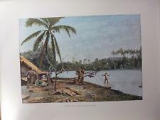 iles sous le vent/Gravure 19°in folio couleur/cote de  Raiatéa(peche au harpon)