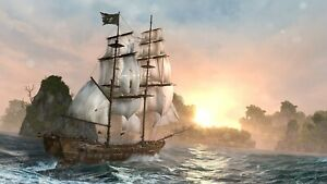Pirate Ship Sea - History Sunset Landscape Large Poster & Canvas Picture Prints