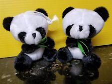 "2 Tiny Panda Bears, Plush Mini Bear Approx 3.5"" in Sitting Position"