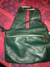 vintage emerald / Forest Green soft leather handbag shoulder bag Silver Hardware