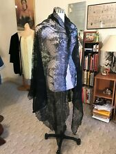 Ornate Antique Vtg 1870s Handmade Goth Long Black Chantilly Lace Mantilla Shawl