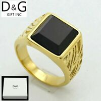 Details about  /DG Men/'s Stainless-Steel.Gold Black CZ Rings 8 9 10,11,12,13,Box