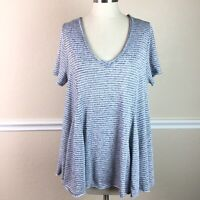 Eri Ali Womens Top Flax Lagenlook Short Sleeve V Neck Blue Striped Size L