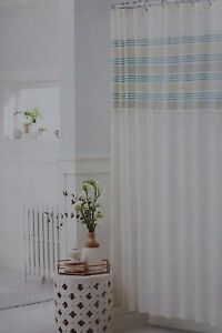 "Threshold Green Stripe Fringe Fabric Shower Curtain 72"" x 72"" NIP"