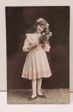 RPPC Edwardian Girl Photo Postcard Dixmude to America Hand Tinted