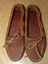 Vintage MINNETONKA tan leather laced moccasin driving mocs fringed flats 6 USA
