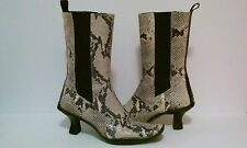 DONALD J PLINER SNAKESKIN BOOTS WOMEN SNAKE LEATHER SLIP ON MID CALF SIZE 7 US