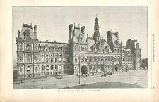 Façade Place de l'Hôtel de Ville de Paris France GRAVURE ANTIQUE OLD PRINT 1895