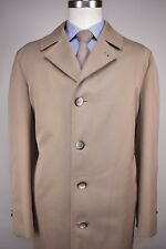 1980's Botany 500 Solid Light Brown Cotton Blend Four Button Overcoat Size: XXL
