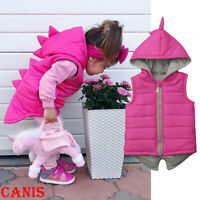 US Princess Kids Baby Girl Dinosaur Cotton-padded Jacket Waistcoat Coat Outwear