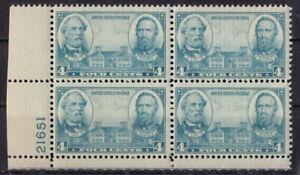 US 1937 Scott#788 Army Navy Lee, Jackson Stratford Hall 4с Mint NH OG Block of 4