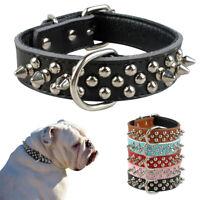 Hundehalsband Nietenhalsband Nieten Echtleder Hunde Halsband 5 Farben 3 Größen
