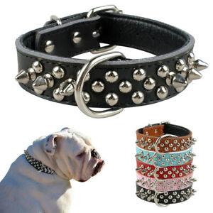 Spiked Studded PU Leather Dog Collars Soft Padded for French Bulldog Schnauzer