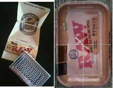 RAW 11x7 TRAY+ARTESANO 1 1/4 Unbleached Rolling Papers+Shredder Storage Case