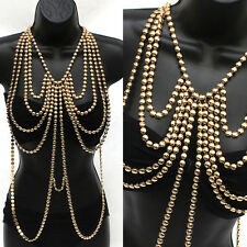 Body Full Metal Chain Gold Wide JEWELRY Necklace Bikini Belly rihanna Harness