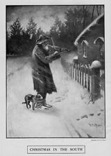 CHRISTMAS IN THE SOUTH NEGRO MAN PLAYING VIOLIN MUSIC WITH DOG BY SIDE SNOWING