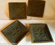 1800'S LOT OF 4 EMBOSSED COPPER PLAQUES MURAL OR FURNITURE FLORAL DESIGN.