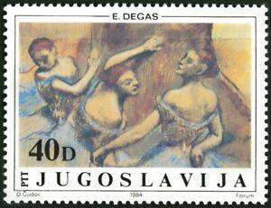 YUGOSLAVIA -1984- Yugoslav Museum Painting - 'The Ballerinas' by E. Degas  #1709