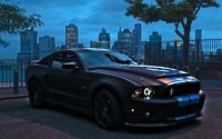 Ford Mustang - Cityscape American Car Wall Art Large Poster / Canvas Pictures