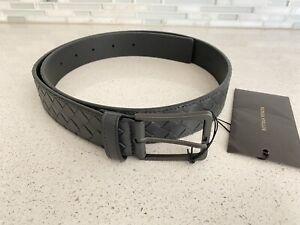NEW BOTTEGA VENETA Men's Intrecciato Black Leather Belt 95cm/38 inches $540