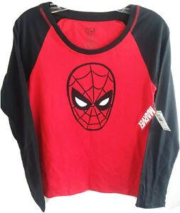 Marvel Spider-Man Shirt Size Medium Jrs  Red Black Long Sleeve Tee  NWT