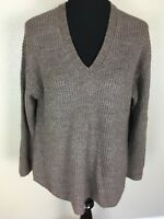 J.CREW NWOT Women's M Alpaca Wool Blend Pullover Sweater V Neck Over Size Brown