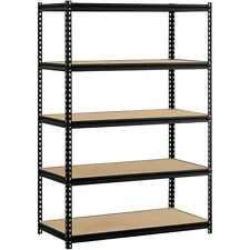 """Muscle Rack 48""""W x 24""""D x 72""""H 5-Shelf Steel Shelving, Black"""