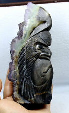 1154g AAA Natural purple & green fluorite crystal carvings kingbox skull healing