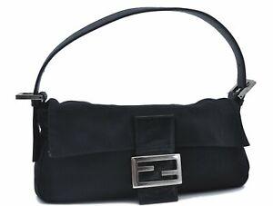 Authentic FENDI Mamma Baguette Shoulder Hand Bag Canvas Leather Black E1858