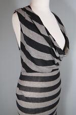 ALLSAINTS Manila Sleeveless Dress Size 8 Cowl Neck Black Grey Party Womens I491
