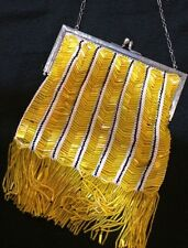 Sterling Silver Art Deco 1920's Flapper Yellow Bead Ladies Purse